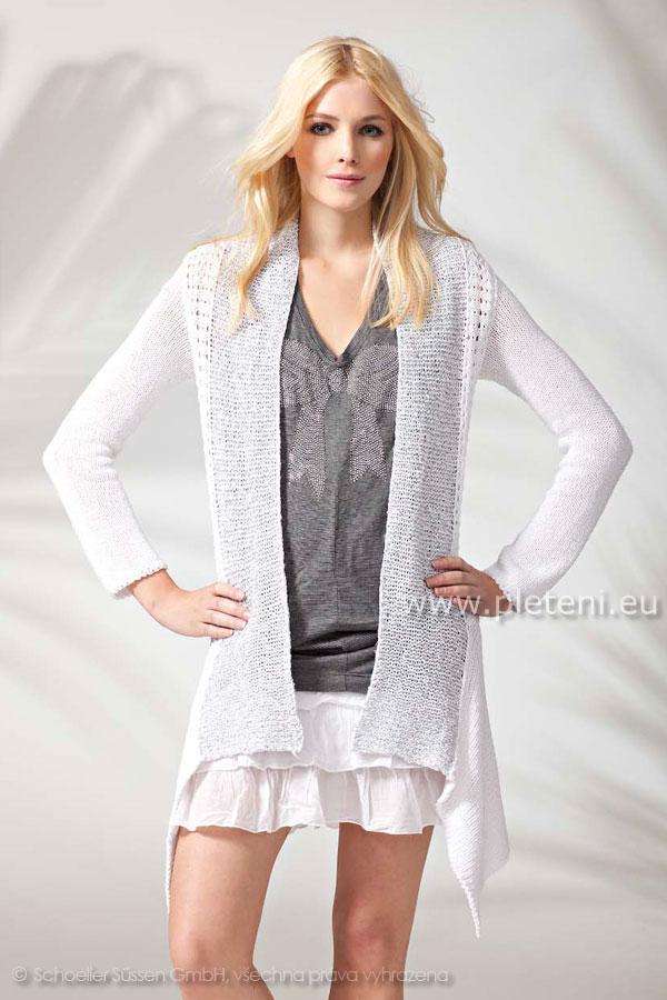 585a3750db64 dámský ručně pletený letní kabátek z přízí Kara a Palila