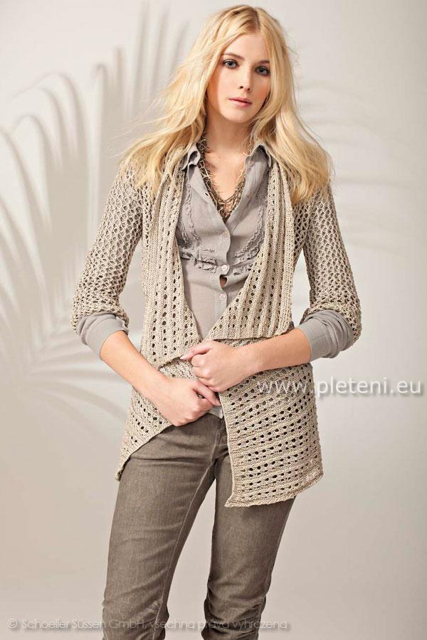 3801dbe6c246 dámský ručně pletený letní kabátek z příze Algarve Supershine