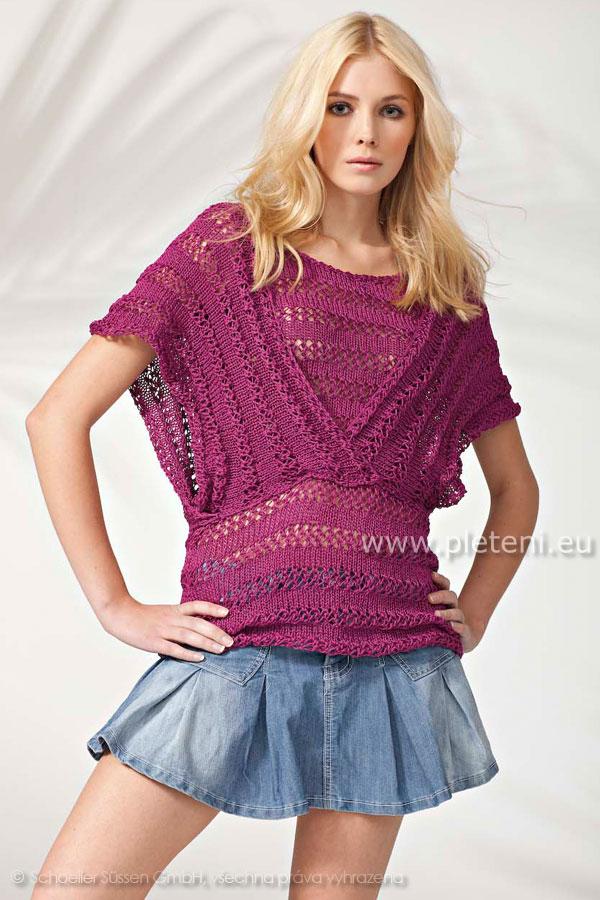 f348f813c29a dámský ručně pletený letní svetřík z příze Algarve Supershine