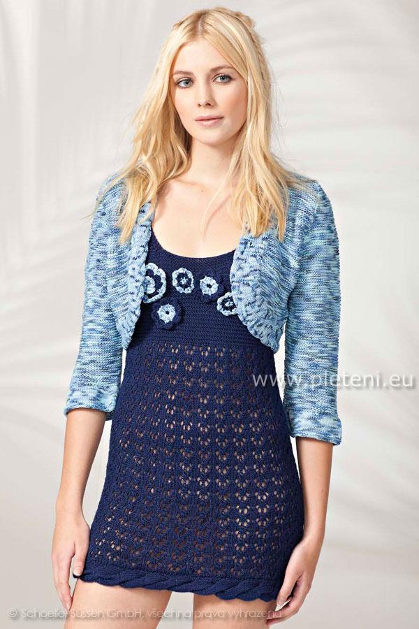 b83cf0cef5a3 ručně pletené šaty a bolerko z příze Seta a Algarve Color