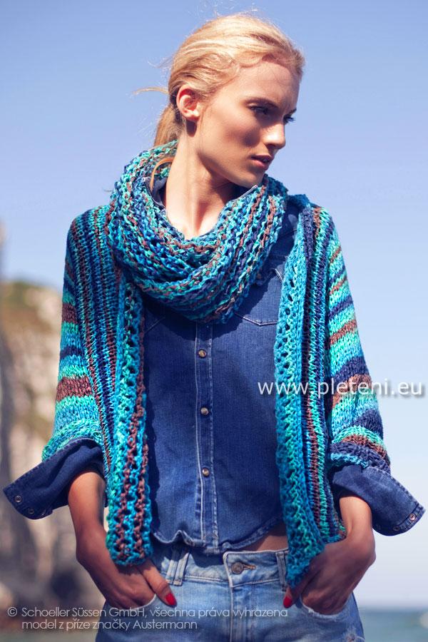 dámský letní ručně pletený kabátek a nákrčník z přízí Cool Cut a Cool Cut  Color db79b7e7d0