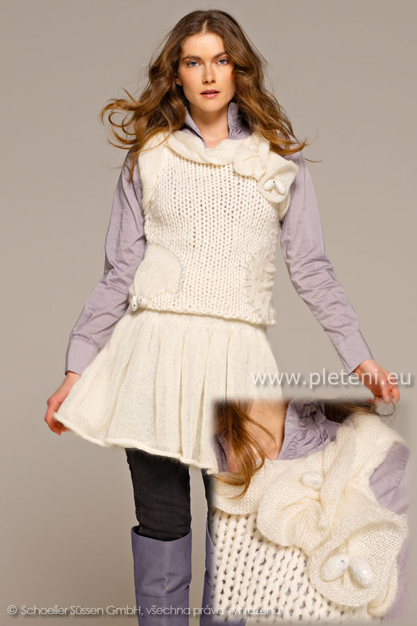 e9e207a1026 dámský ručně pletený svetřík a sukně z příze Kid Silk a Softy