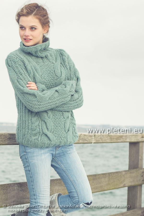 dámský ručně pletený svetr rolák z příze Siberia e106d80ea9