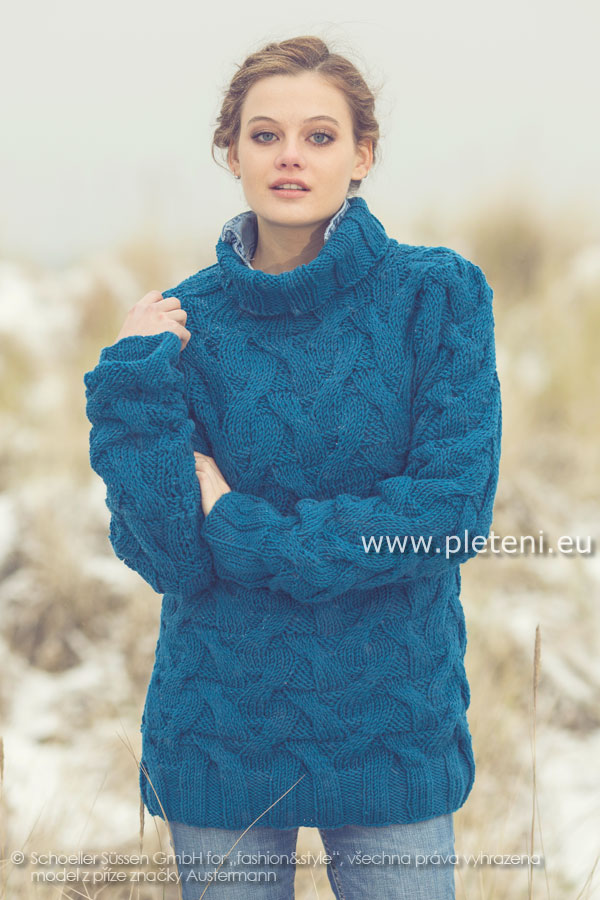 dámský ručně pletený svetr rolák z příze Merino 85 24f6f880c4