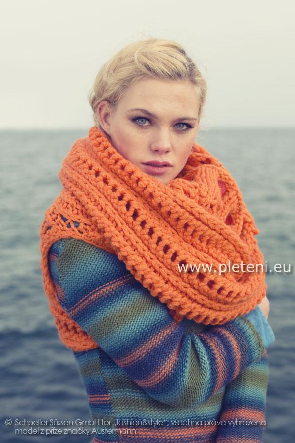 62b136371a4 dámský ručně pletený nákrčník z příze Softy