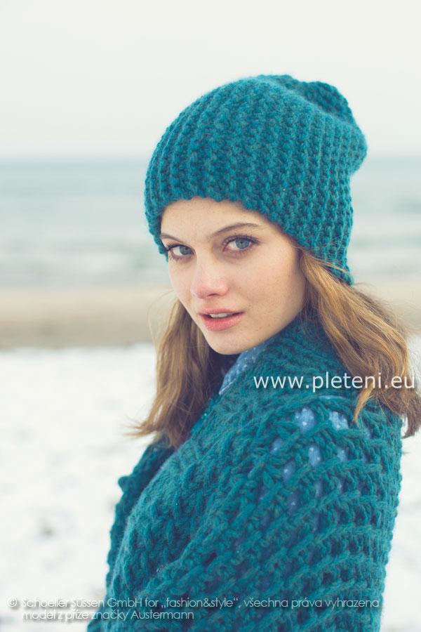 dámská ručně pletená čepice z příze Softy a7cb69d1ed5
