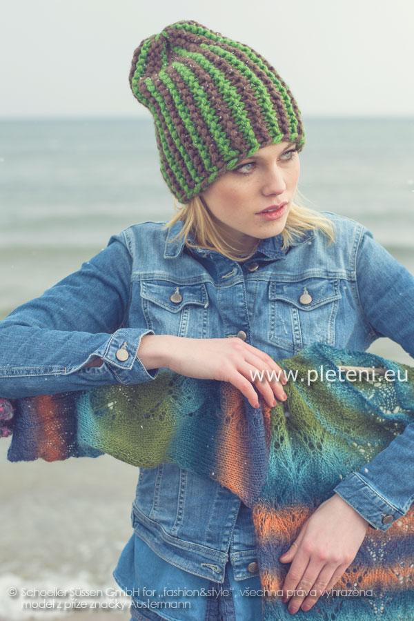 dámská ručně pletená dvoubarevná čepice z příze Softy faccc3addc