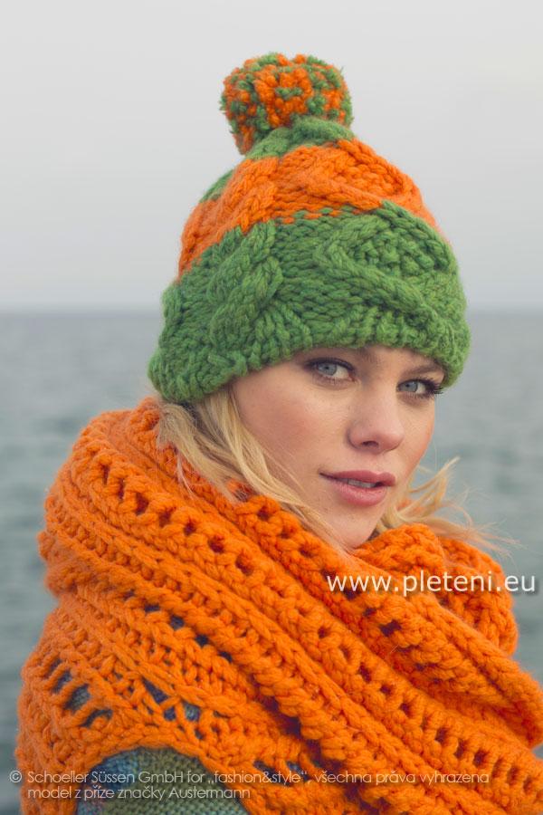 dámská ručně pletená dvoubarevná čepice s bambulí z příze Softy 5e37a26bbd