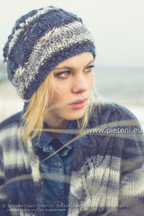 dámská ručně pletená čepice z příze Caleido 50c0550319