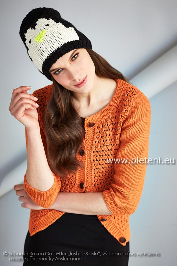 fe88928580c dámský ručně pletený kabátek a čepice z příze Merino 105 a Merino 50 EXP
