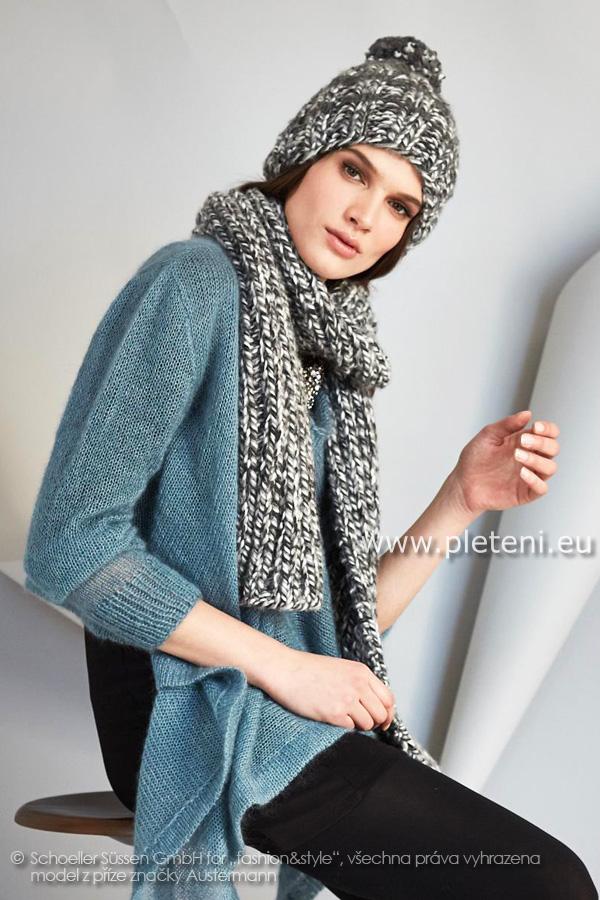 44a07391b2b dámská ručně pletená čepice a šála z příze Expression a Softy