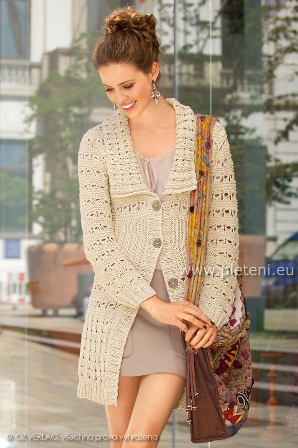 dámský ručně pletený kabátek z příze Pantino a9efb9d477