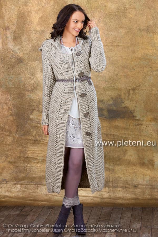 dámský ručně pletený kabát z příze Semira 50191c053b