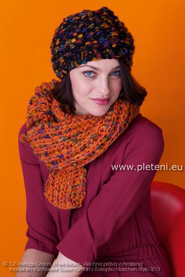 9d5e7a0ba71 dámská ručně pletená čepice a šála z příze Pebble