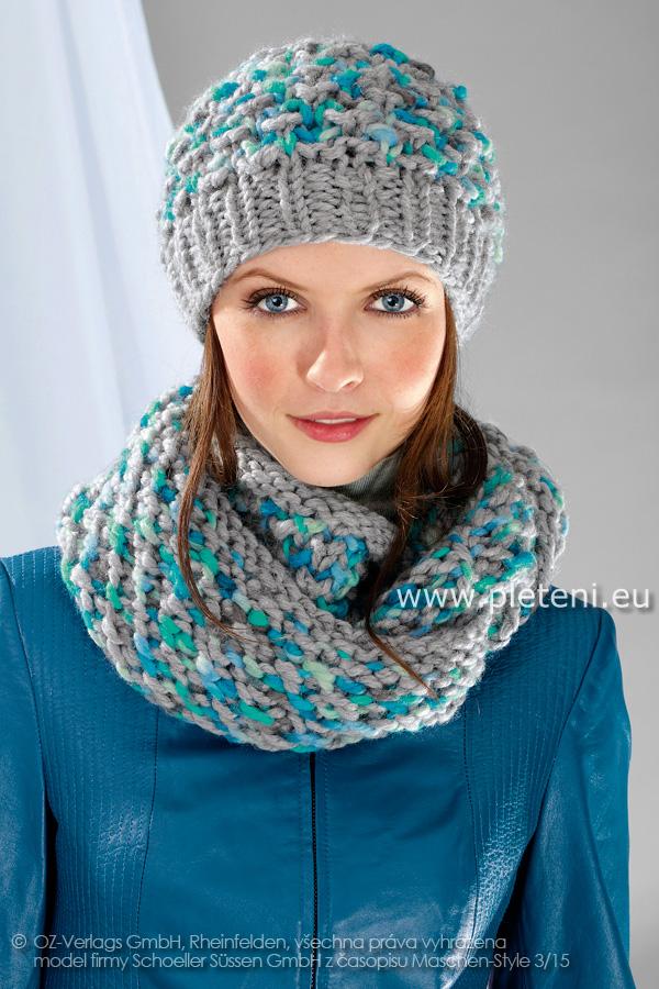 85b7f24e0a2 ručně pletená čepice a nákrčník z příze Semira a Semira Color nebo Softy