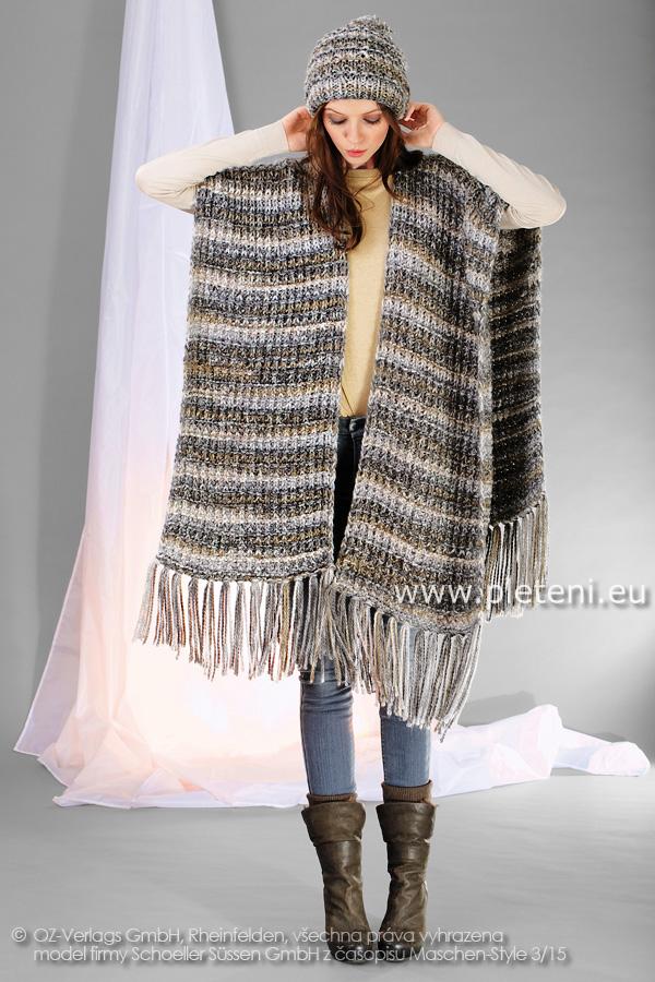 dámské ručně pletené pončo a čepice z příze Ninette ae46bfb514