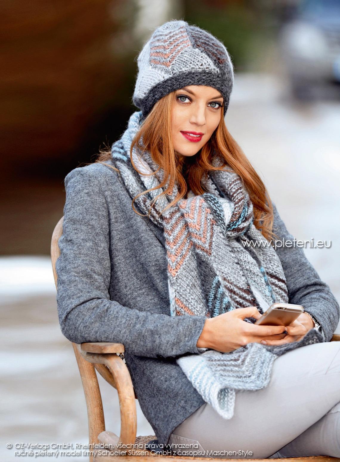 2017-2018 model 01 a 02 čepice a šála z přízí Caleido a Delgada firmy Schoeller