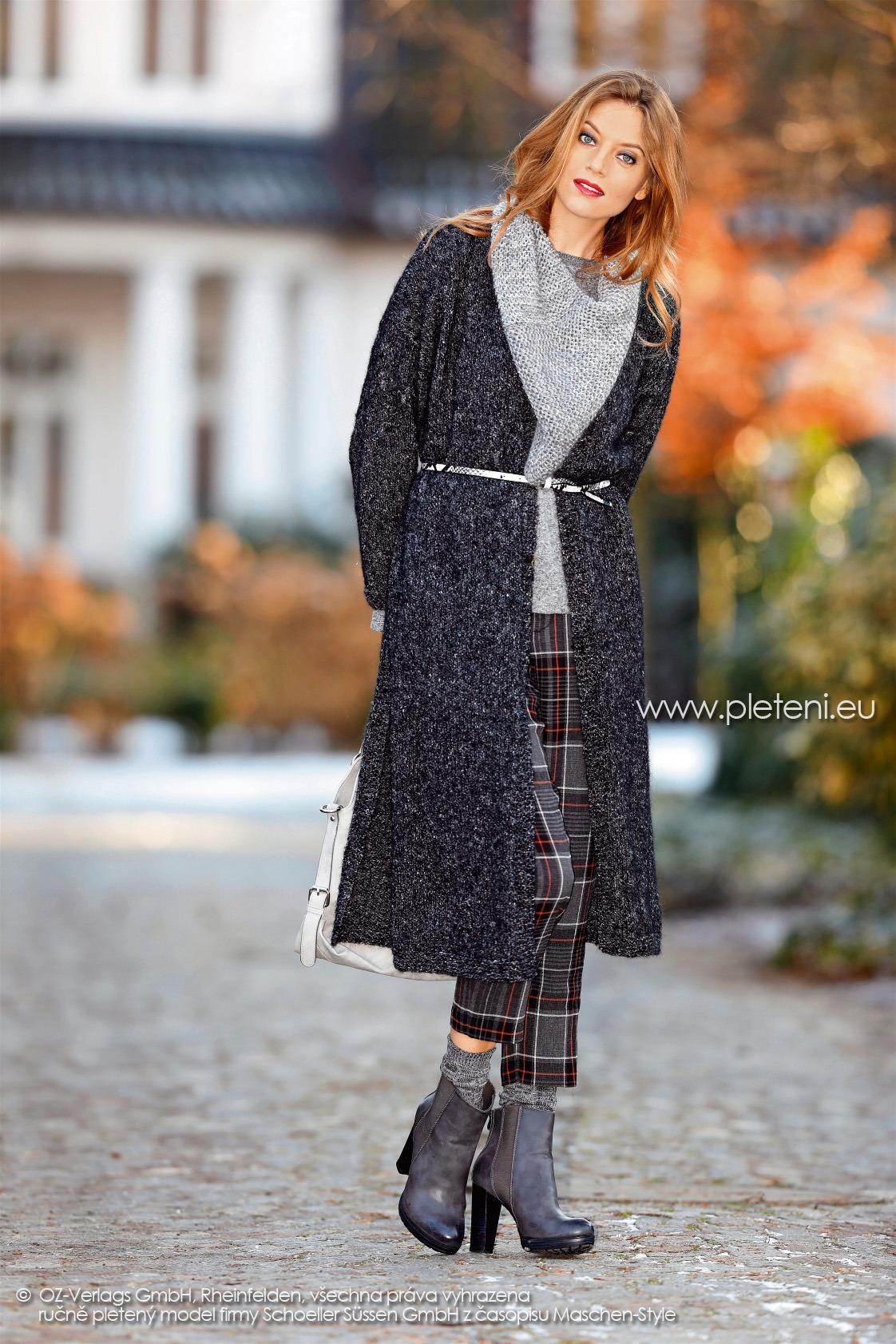 2017-2018 model 08 dámský pletený kabát z příze Alpaca Tweed firmy Schoeller