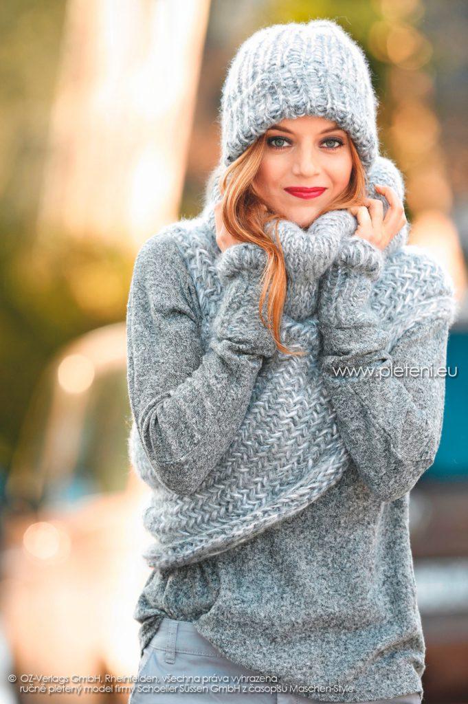 2017-2018 modely 10 dámská pletená čepice a 11 pončo a 12 návleky z přízí Alpaca Tweed a Delgada firmy Schoeller