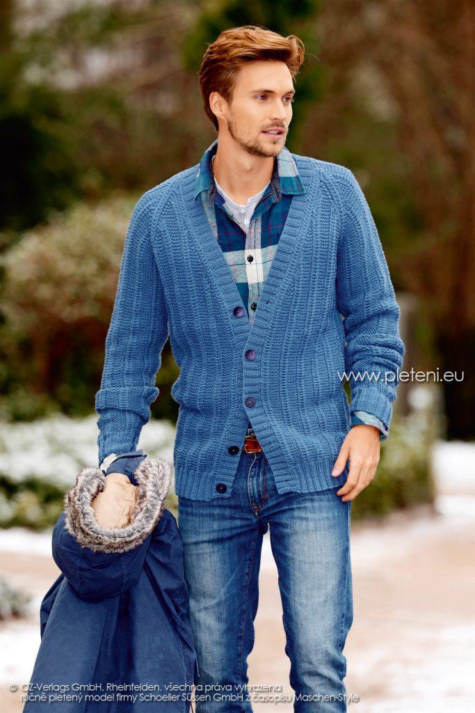 2017-2018 model 13 pánský pletený kabátek z příze Merino 105 firmy Schoeller