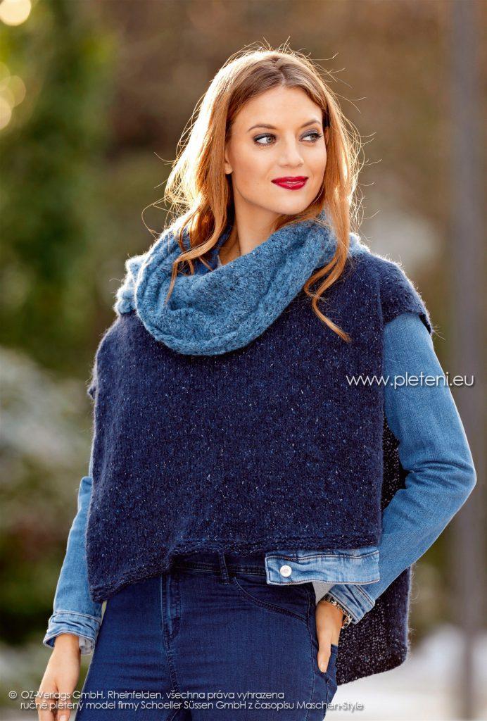 2017-2018 model 14 dámské pletené pončo z příze Alpaca Tweed firmy Schoeller