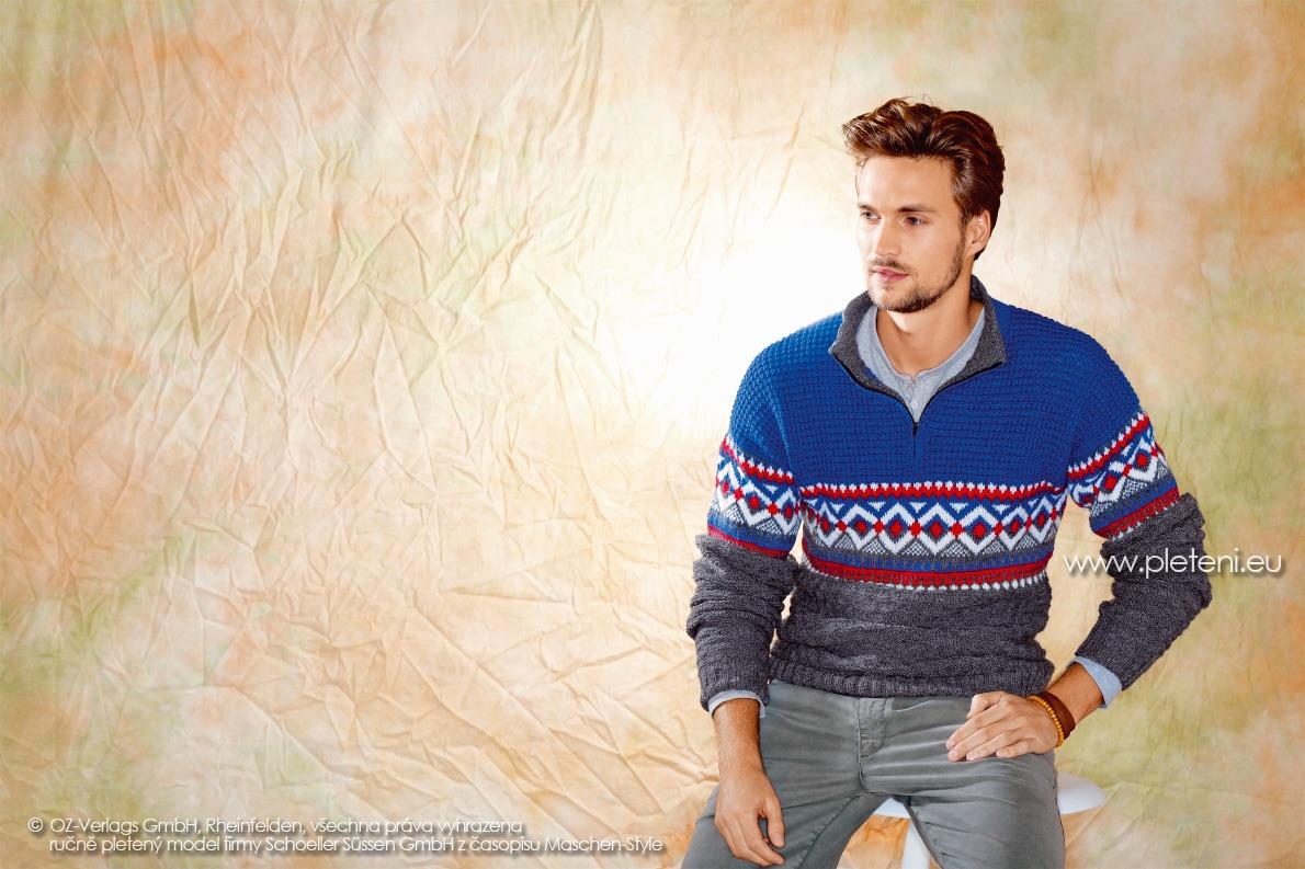 2017-2018 model 13 pánský pletený svetr z příze Step Classic firmy Schoeller