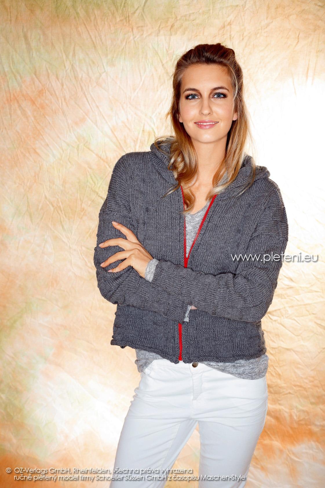 2017-2018 model 18 dámský pletený kabátek z příze Merino 105 firmy Schoeller