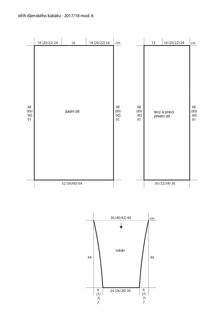 2017-2018 model 06 střih dámského pleteného kabátu