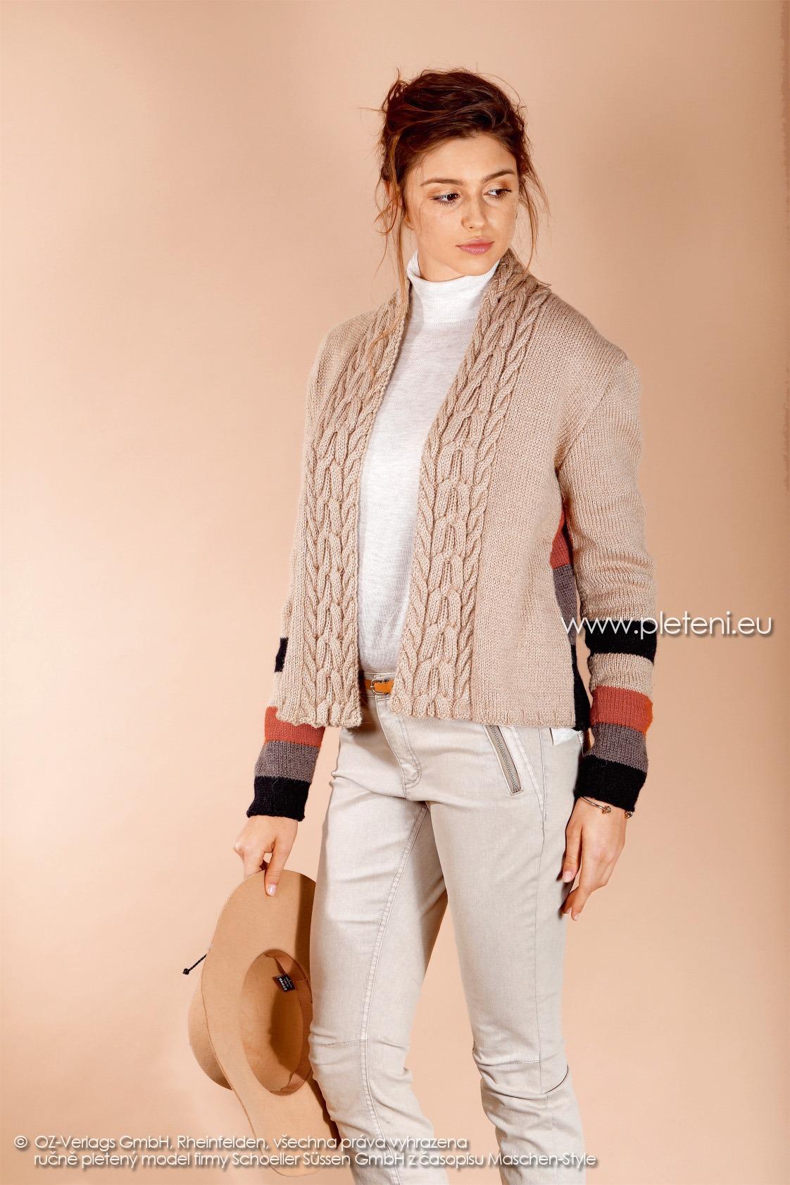 2017-2018 model 27 dámský pletený kabátek (přední pohled) z příze Almeria firmy Schoeller