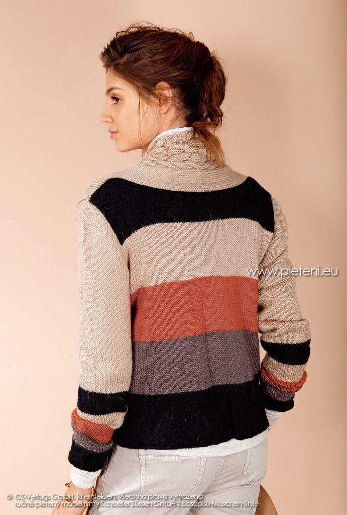 2017-2018 model 27 dámský pletený kabátek (zadní pohled) z příze Almeria firmy Schoeller
