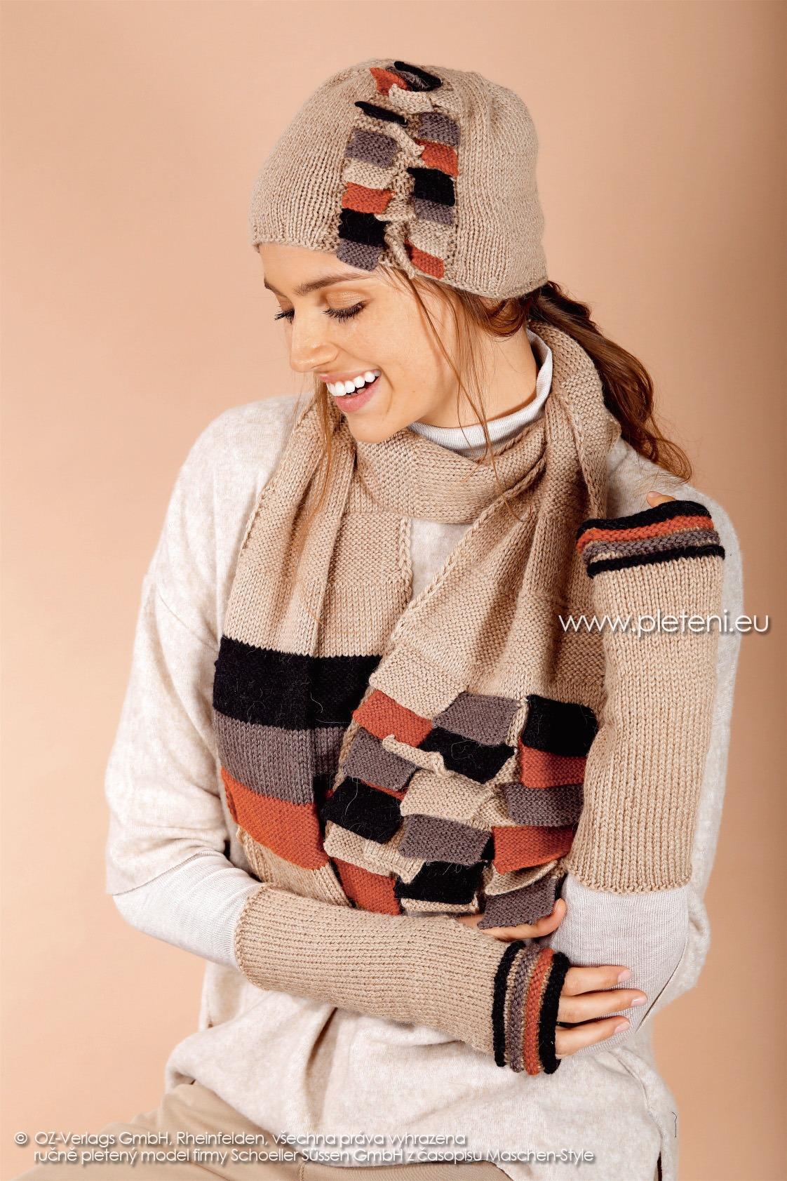 2017-2018 modely 28 dámská pletená čepice a 29 šála a 30 návleky z příze Almeria firmy Schoeller
