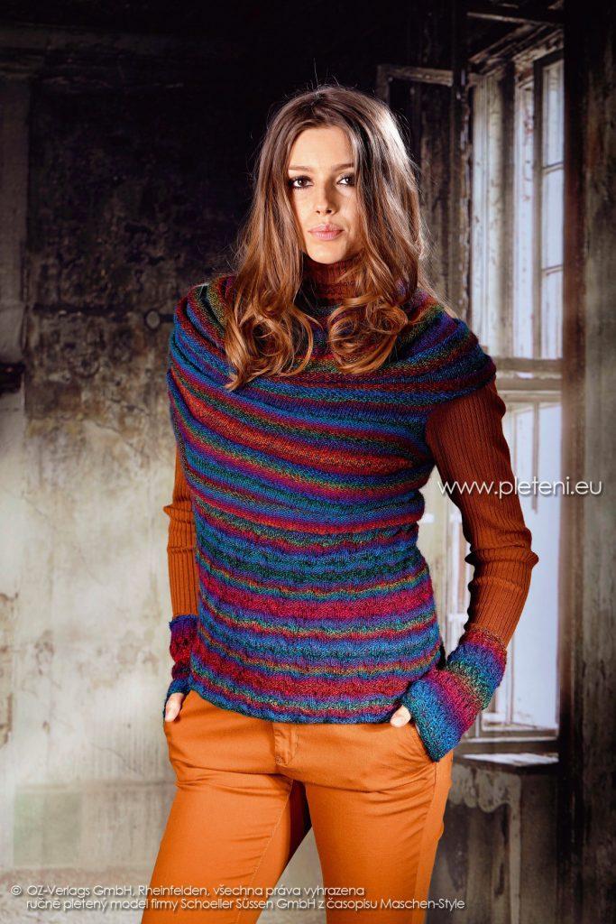 2017-2018 modely 32 dámský pletený svetr a 33 návleky z příze Murano for Socks firmy Schoeller