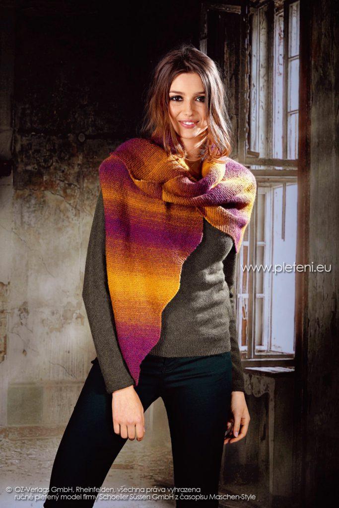 2017-2018 model 34 dámská pletená šála z příze Ambra Color firmy Schoeller
