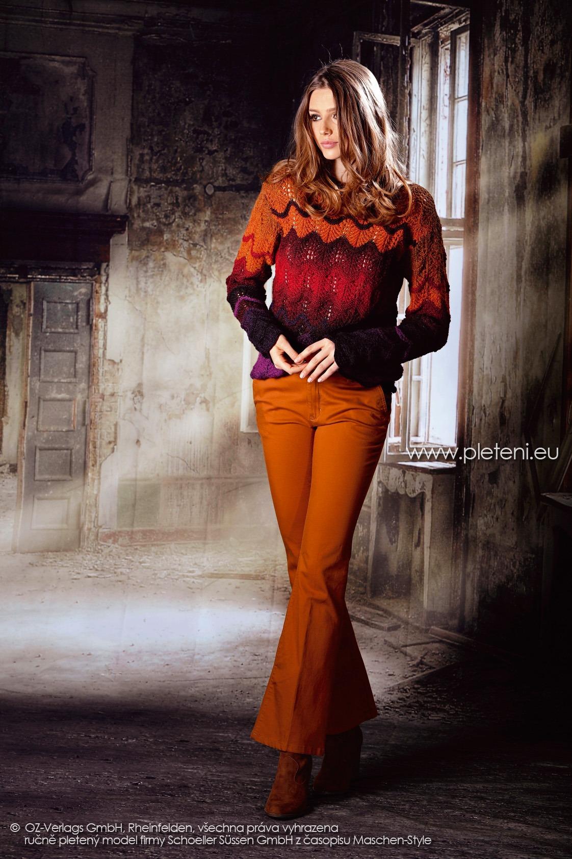 2017-2018 model 35 dámský pletený svetr z příze Ambra Color firmy Schoeller
