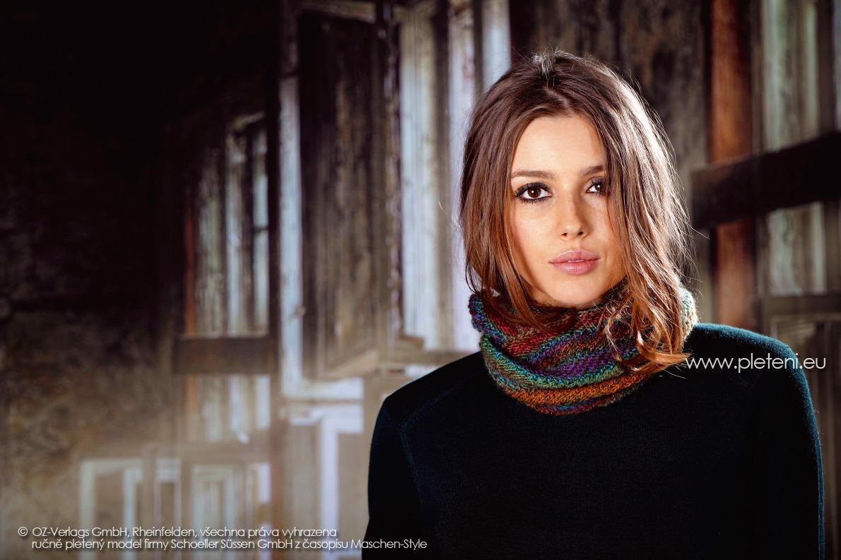 2017-2018 model 36 dámský pletený nákrčník z příze Murano for Socks firmy Schoeller