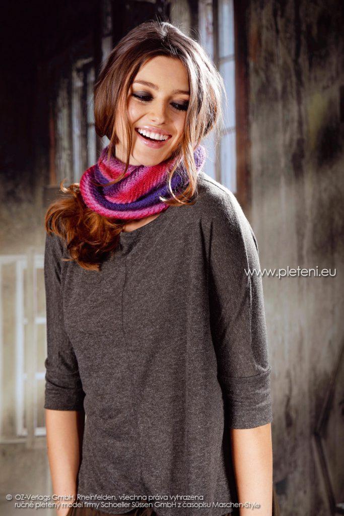 2017-2018 model 37 dámský pletený nákrčník z příze Caleido Lace firmy Schoeller