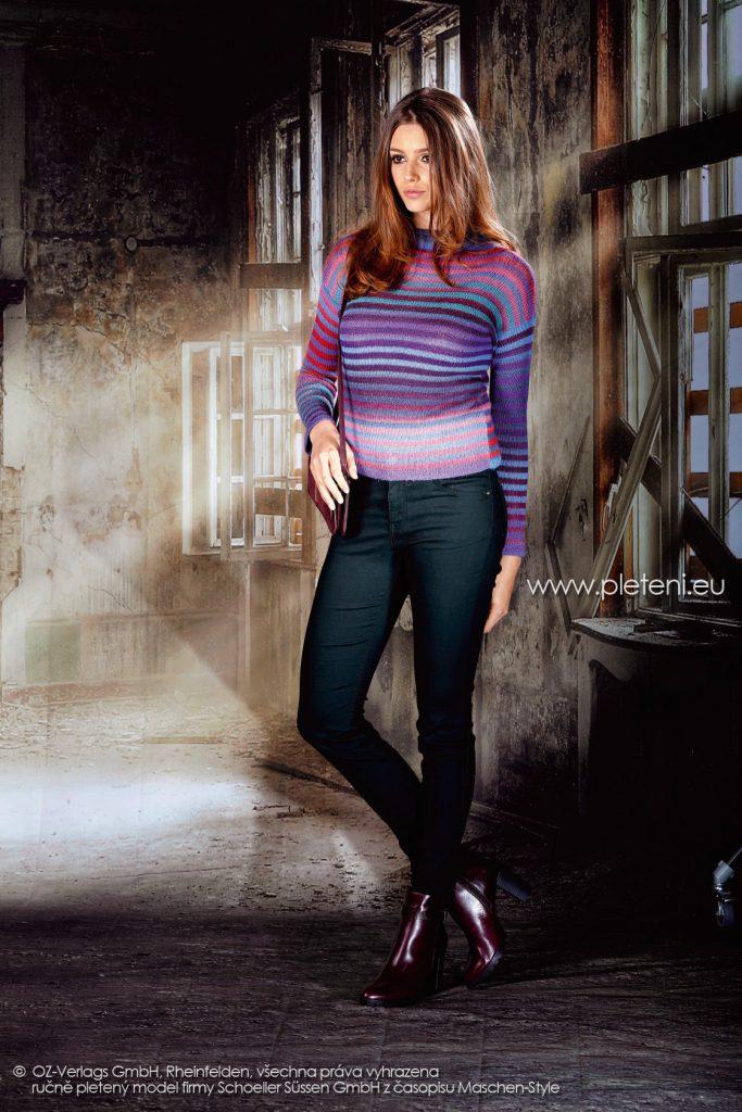 2017-2018 model 38 dámský pletený svetr z příze Caleido Lace firmy Schoeller