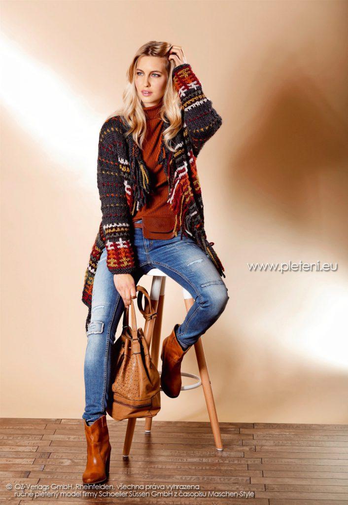2017-2018 model 40 dámský pletený kabát z příze Fey firmy Schoeller