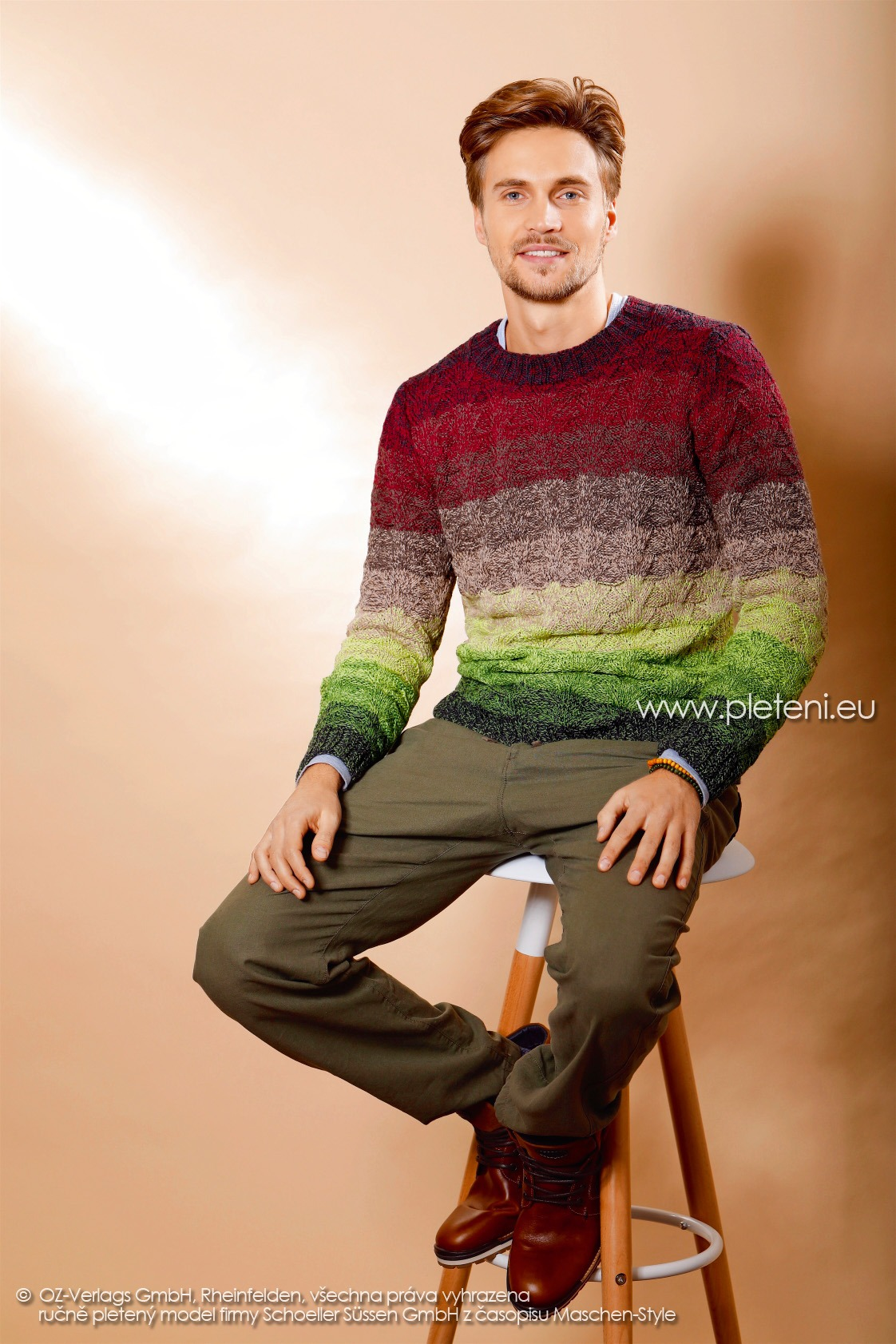 2017-2018 model 43 pánský pletený svetr z příze Merino Lace firmy Schoeller