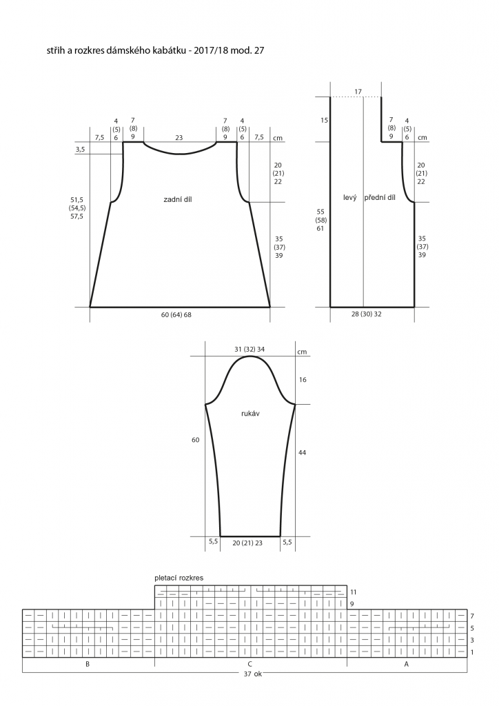 2017-2018 model 27 střih a rozkres dámského pleteného kabátku