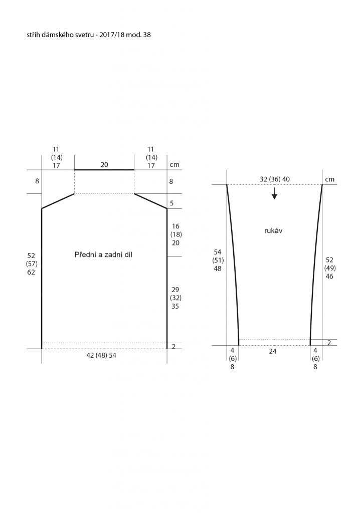 2017-2018 model 38 střih dámského pleteného svetru