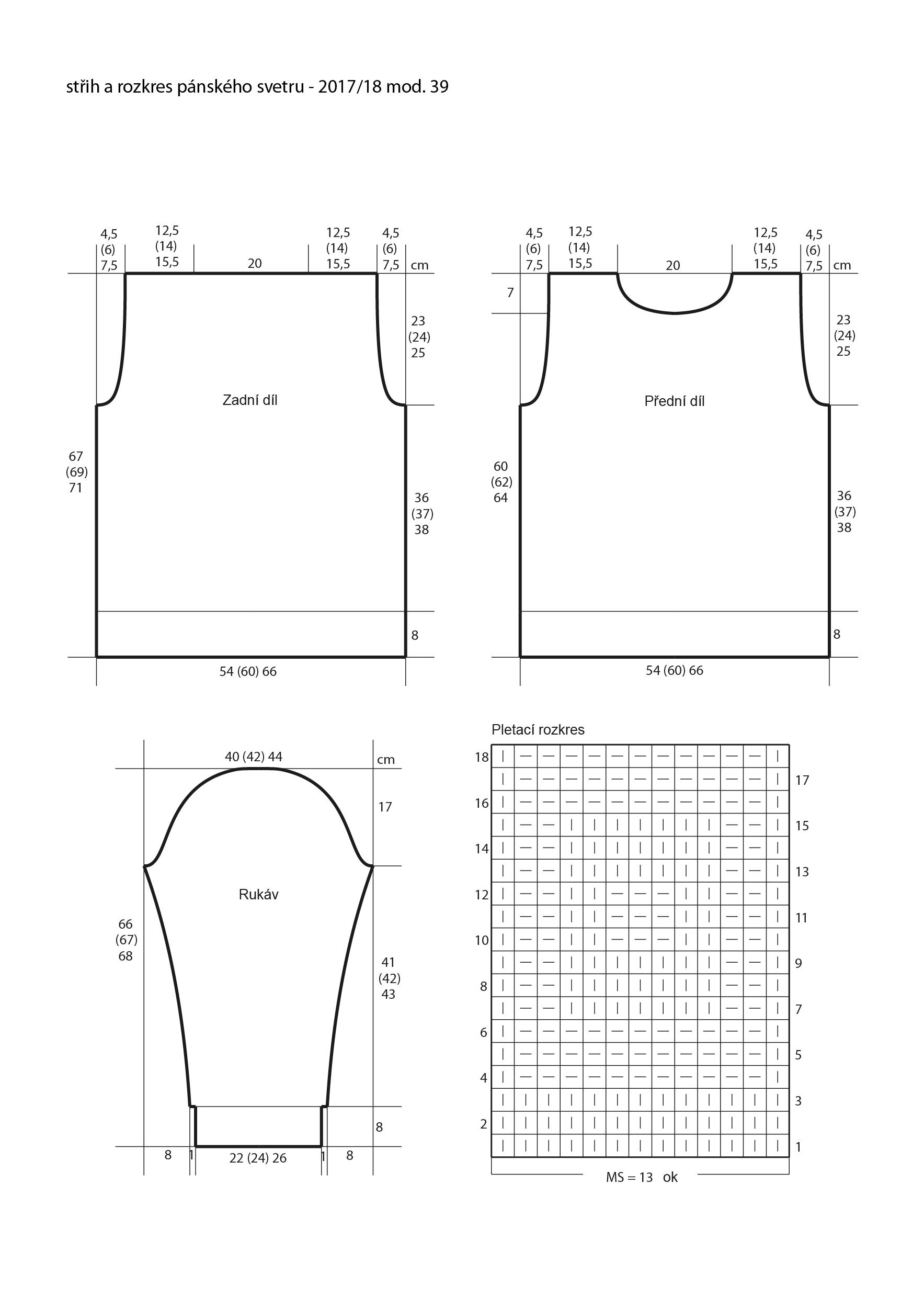2017-2018 model 39 střih a rozkres pánského pleteného svetru