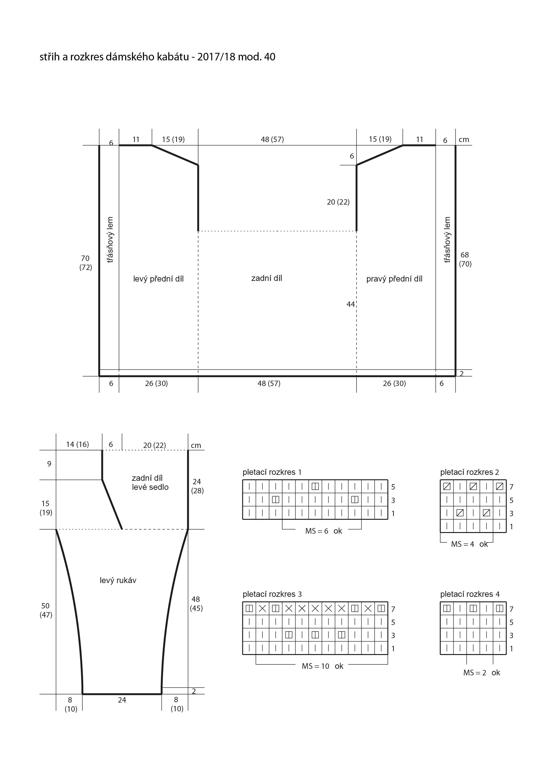 2017-2018 model 40 střih a rozkres dámského pleteného kabátu