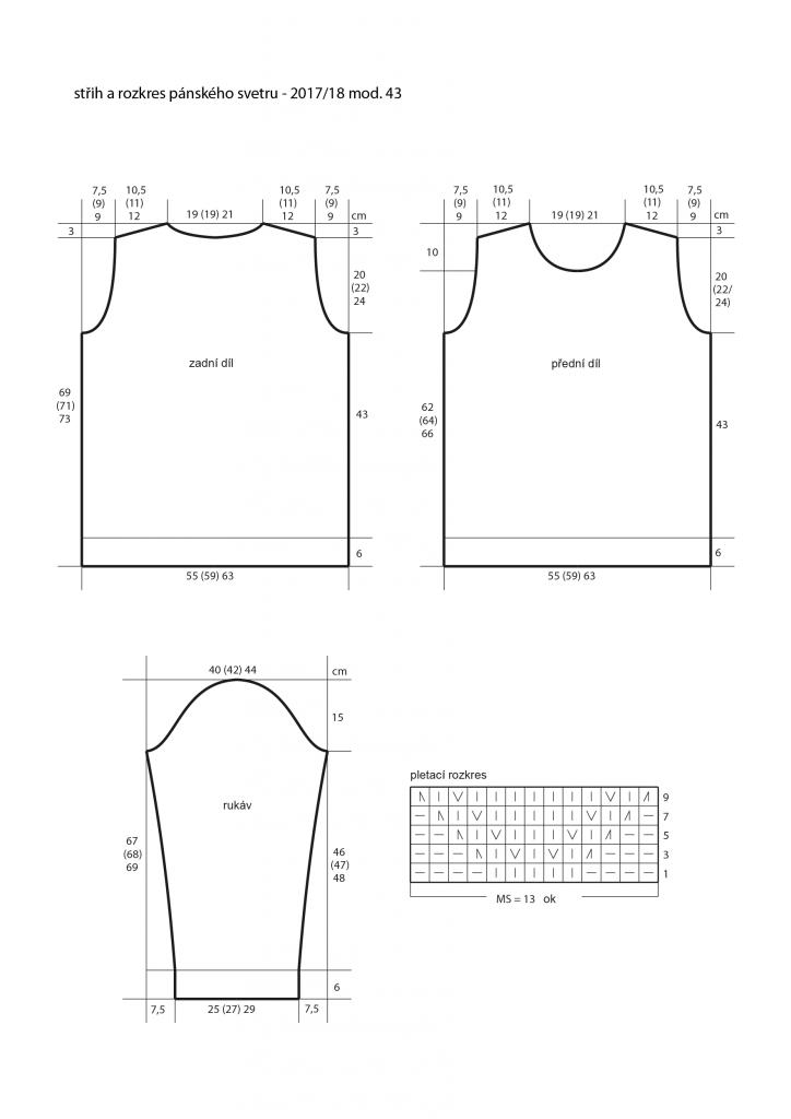 2017-2018 model 43 střih pánského pleteného svetru