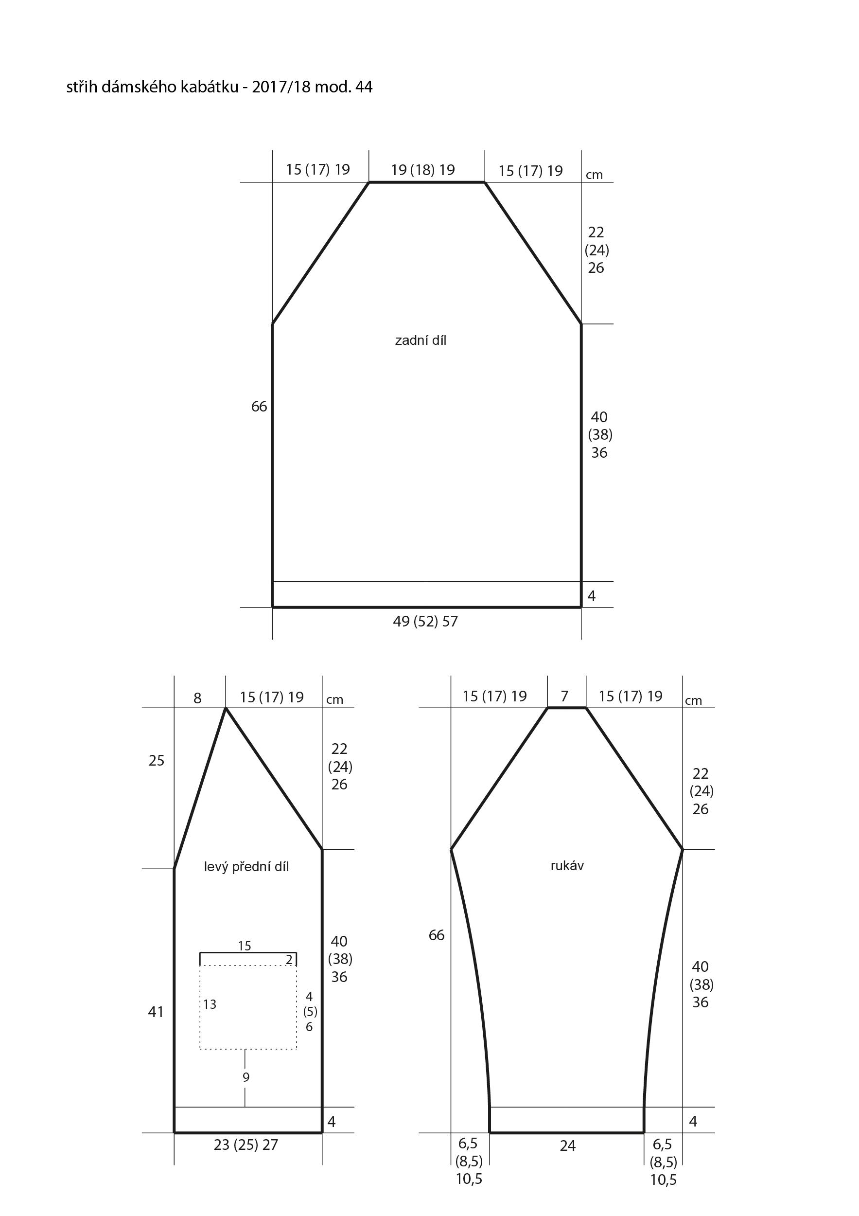 2017-2018 model 44 střih dámského pleteného kabátku