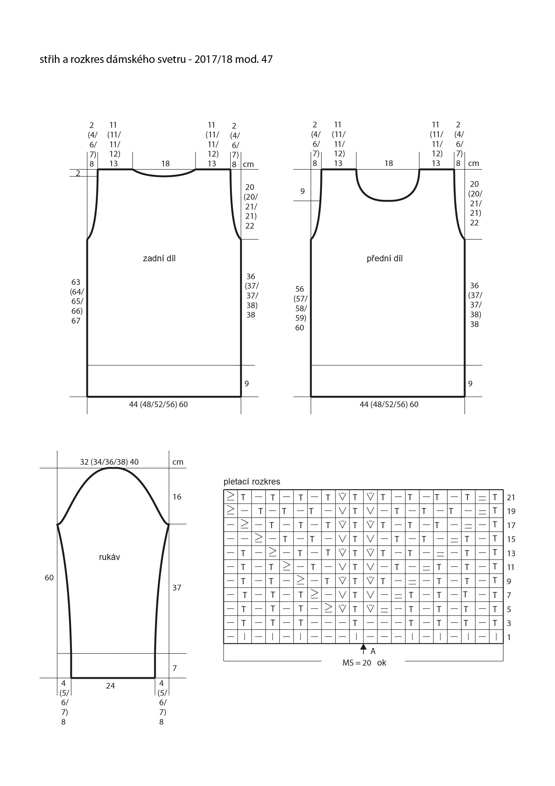2017-2018 model 47 střih a rozkres dámského pleteného svetru