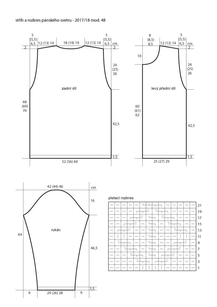 2017-2018 model 48 střih a rozkres pánského pleteného svetru