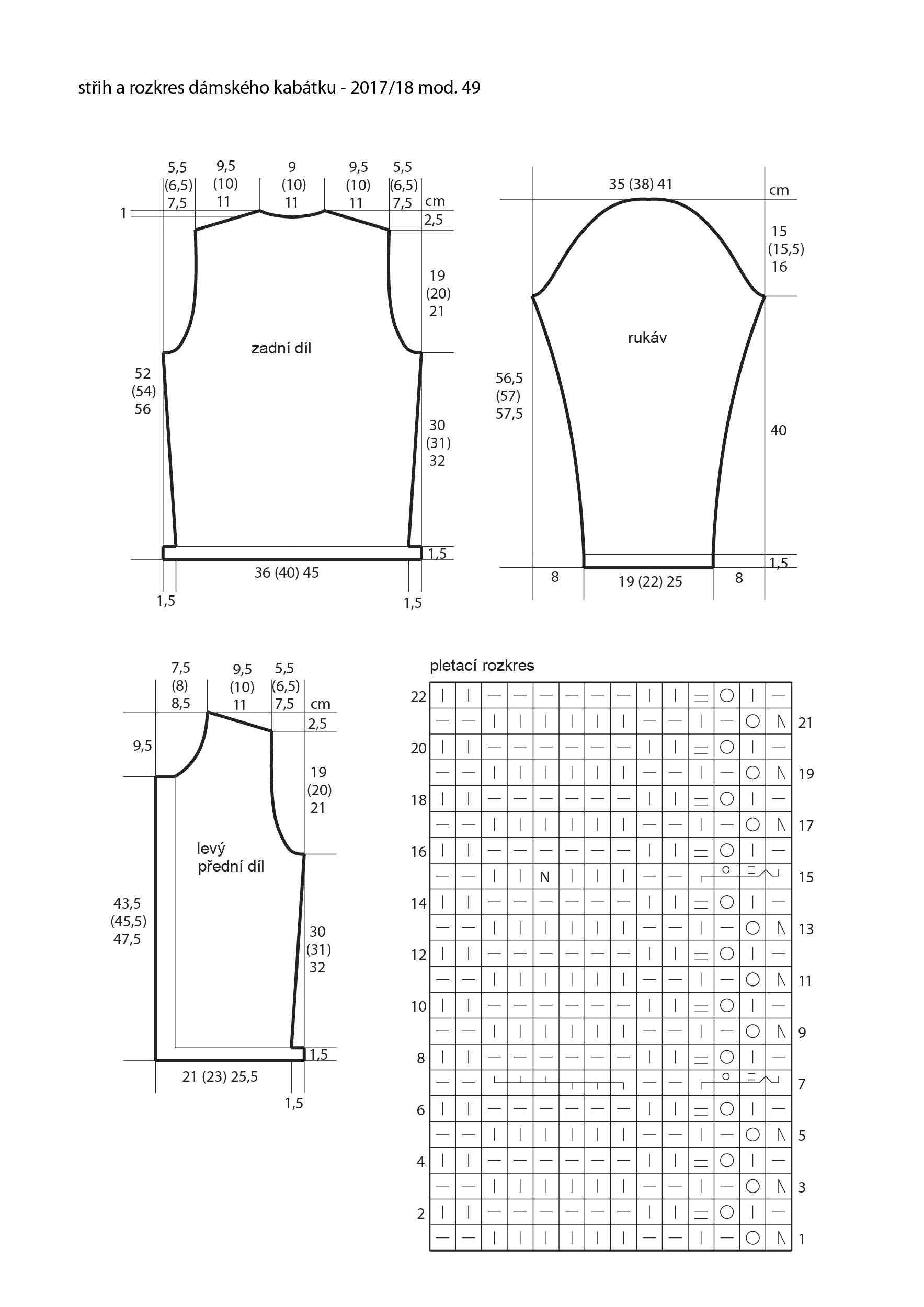 2017-2018 model 49 střih a rozkres dámského pleteného kabátku
