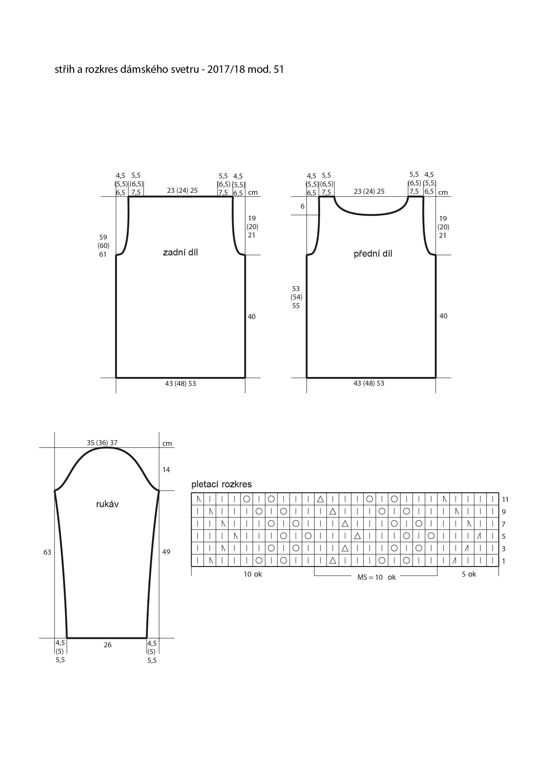 2017-2018 model 51 střih a rozkres dámského pleteného svetru