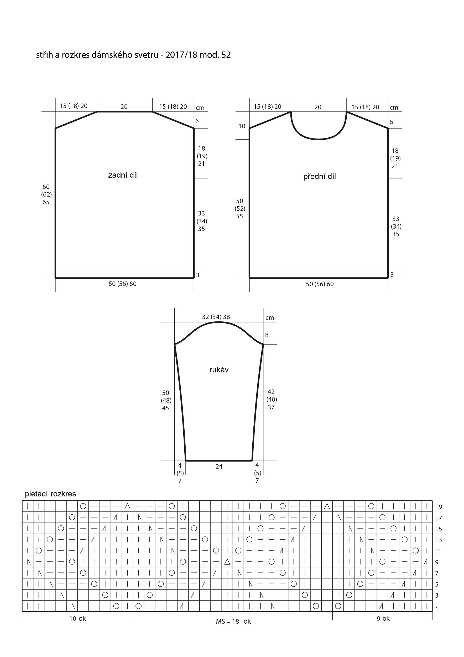 2017-2018 model 52 střih a rozkres dámského pleteného svetru